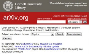 Part of a screen shot from arXiv
